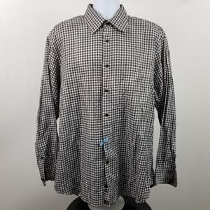 Robert Talbott Brown Black Check Plaid Dress Shirt